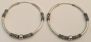 Extra Large Sterling Silver Celtic Hoop Earrings 45mm