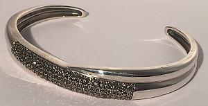 Marcasite Sterling Silver Open Ladies Bangle