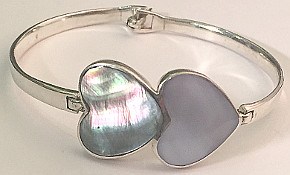 Mother of Pearl Shell Hearts 925 Silver Bracelet Bangle