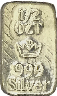 1/2oz Fine Silver Bullion Bar MPM Crown