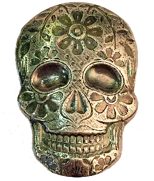 2oz Sugar Skull 999 Silver Art Bar Day of the Dead