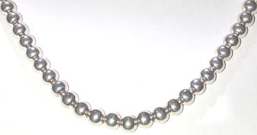 Sterling Silver 7mm Beaded Necklace 430mm