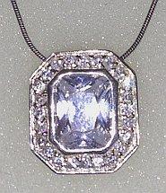 Octagonal CZ set Lilac Sterling Silver Pendant