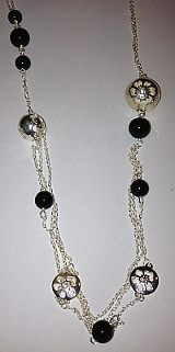 Sterling Silver Onyx Beads Ladies Necklace 22inch