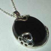 Black Onyx Silver Pendant with Chain