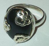 Black Onyx set Fancy Silver Ring
