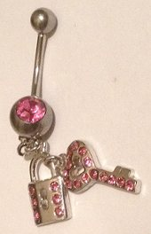 Naval Barbell with Pink Gem set Padlock and Key