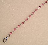 Silver Pink Stones Anklet