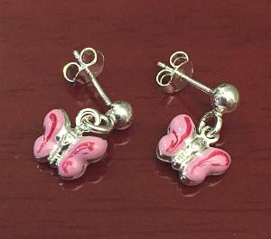Pink Enamel Sterling Silver Butterfly Drop Earrings