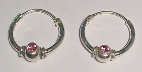 Sterling Silver Hoops with Pink CZ 12mm (Pack of 6)