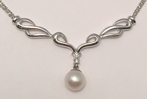 9ct White Gold Necklace with Pearl and Diamond Pendant