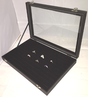 Ring Display Case with Hinged Glass Lid (100 Ring Size)