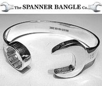 Sterling Silver Extra Large SPANNER BANGLE 15mm RETAIL PACK with Wood Box