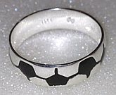 Football design Sterling Silver Band Ring