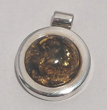 Round Amber Pendant with 925 Silver setting