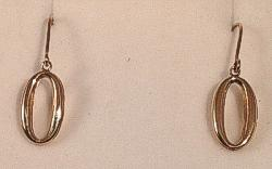 9ct Oval Circle Gold drop Earrings