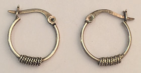 Sterling Silver Round Rope design Hoops 16mm