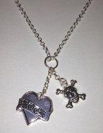 Silver tone Rock Heart & Skull Necklace 460mm