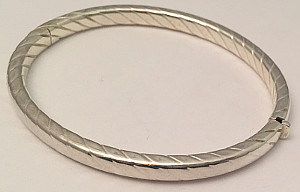 Rope design Sterling Silver Wide hinged Bangle