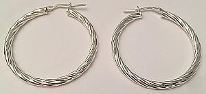 Rope Twist Sterling Silver round Hoops 35mm