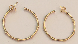 Gold on Sterling Silver Bamboo 30mm Hoops