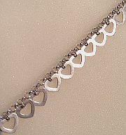 Silver Belcher Bracelet with Heart Charms