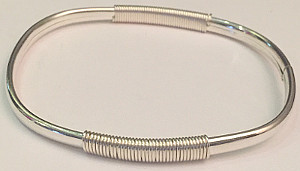 Silver Bangle with Coil Effect