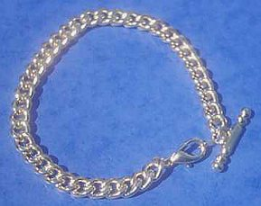 Silver tone Curb Bracelet with T-Bar