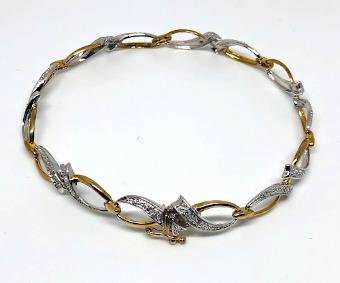 9ct Gold Diamond open Ribbon design Bracelet