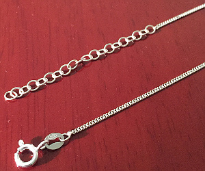 Sterling Silver 18inch Curb Chain with Extension 460mm x 1mm