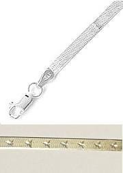 Sterling Silver Herringbone Bracelet 190mm Star