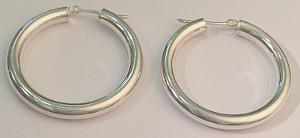 Sterling Silver HOOP EARRINGS 4mm x 35mm
