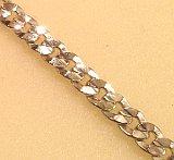 Silver tone Bevelled Curb Bracelet 9mm gauge