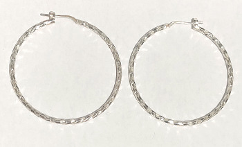 Sterling Silver Snake style Hoops 45mm