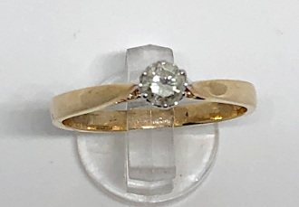 25pt Diamond Solitaire 9 carat Gold Ring I1-SI2
