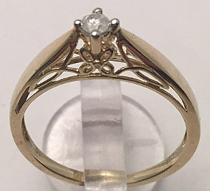 9ct Gold Diamond Solitaire Fancy setting Ring