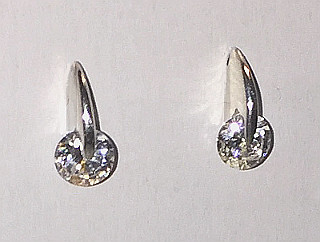 Solitaire CZ Sterling Silver Ear Studs