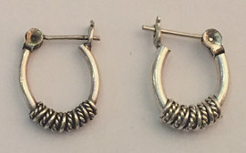 Sterling Silver Oval Rope design Hoops