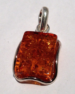 Rectangular Amber Pendant set in Sterling Silver