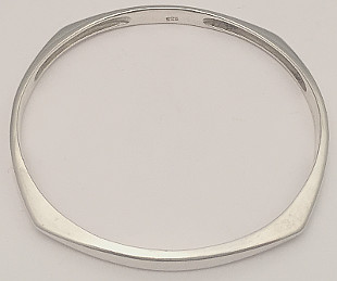 Heavy Square Corners design Sterling Silver Large Bangle