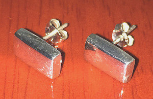 Sterling Silver Designer polished Bar Studs