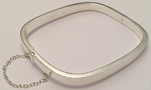 Sterling Silver Hinged Bangle with Safety Chain 4mm