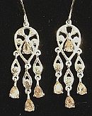 Sterling Silver Pink Crystal Chandelier Drop Earrings