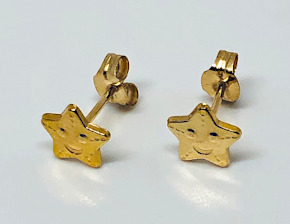 9ct Gold Star Ear Studs