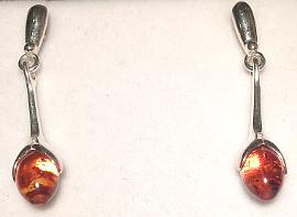 Tulip design Sterling Silver Amber Earrings