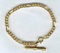 200mm T bar FIGARO GOLD tone BRACELET