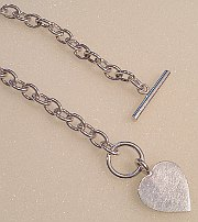 Sterling Silver HEART T-BAR Necklace 410mm