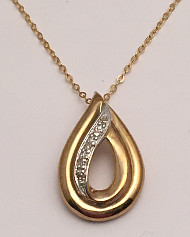9ct Gold Diamond set Teardrop Pendant