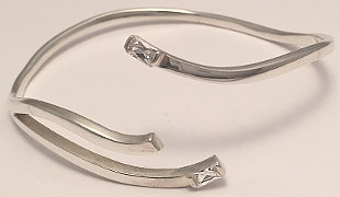 Sterling Silver CZ set Triple Cross-Over Bangle