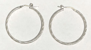 Sterling Silver Textured Hoops 32mm